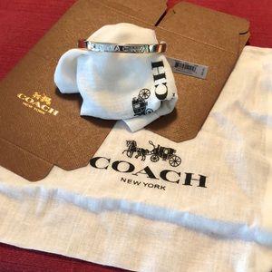 Coach NEW Gold Silver Tone Hinged Bangle